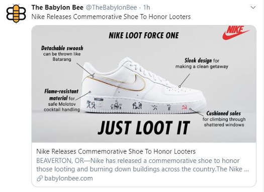 babylon bee nike releases commemorative shoe for looters