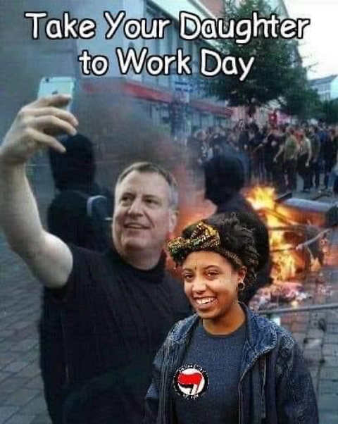 bill de blasio take your daughter to work day riots