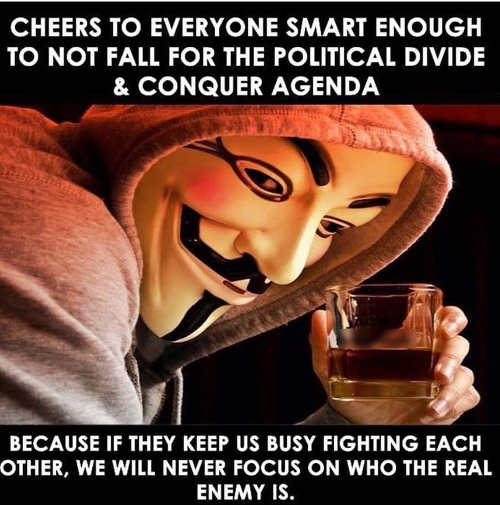 cheers to everyone smart enough not to fall politicial divide