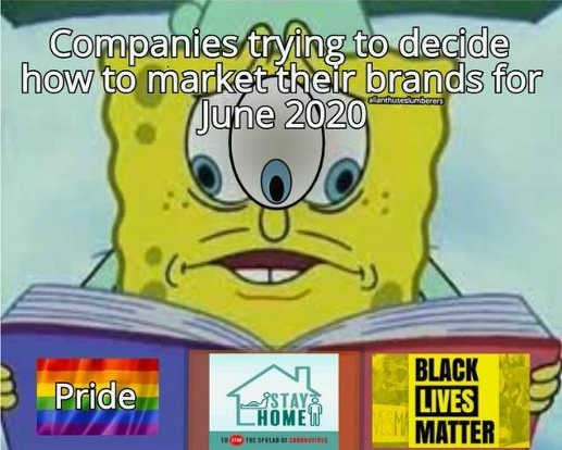 companies trying to decide market 2020 pride stay home black lives matter sponge bob