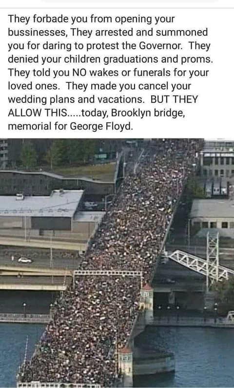 crowd for george floyd bridge after all lockdowns