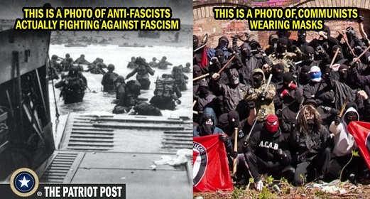 d day photo anti fascist actually fighting antifa communists wearing masks