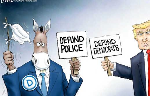 democrats defund police sign trump defund democrats