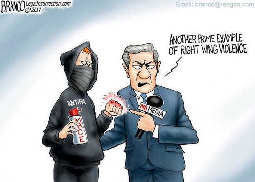 mainstream media antifa bloody knuckles prime example right wing violence