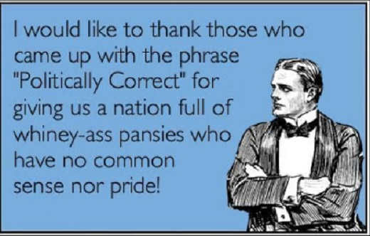 message like to thank phrase politically correct whiny pansies no common sense killing america