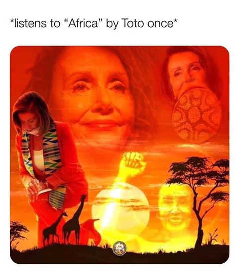 nancy pelosi listens to africa toto once