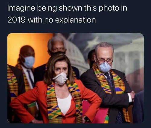 pelosi schumer masks african garb imagine being shown this picture in 2019 no explanation