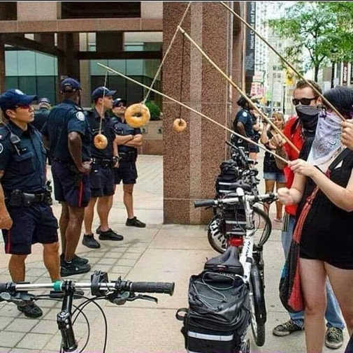 protesters fishing for cops with donuts