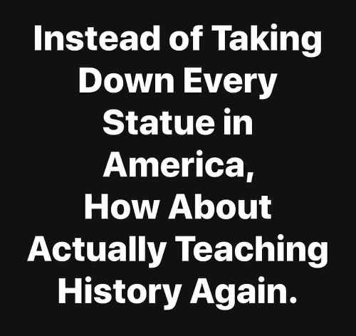 question instead of taking down every statute in america how about teaching history again