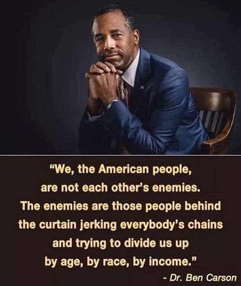 quote ben carson we american people not enemies behind curtain jerking everyone trying to divide us by age race income