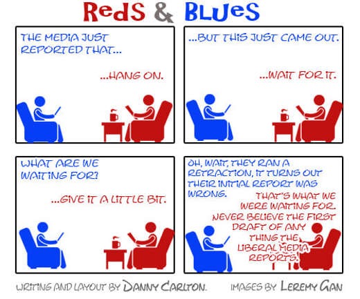 reds blues reporting anything retraction media