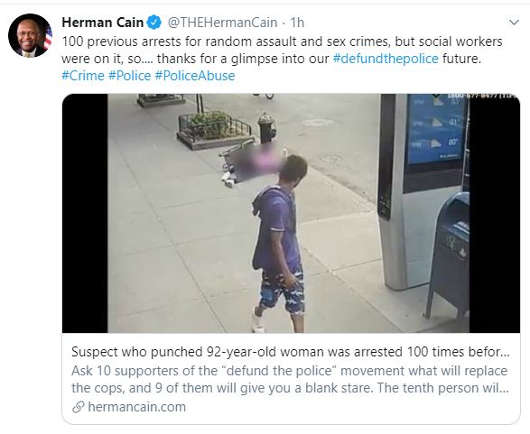 tweet herman cain 100 previous arrests for suspect punched old woman