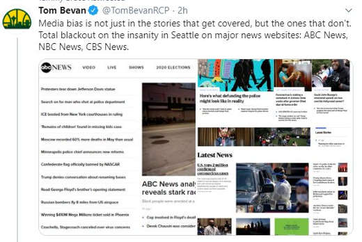 tweet tom bevan media bias not just stories covered blackout insanity in seattle