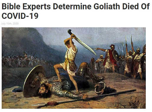 babylon bee bible experts determine goliath died of covid 19