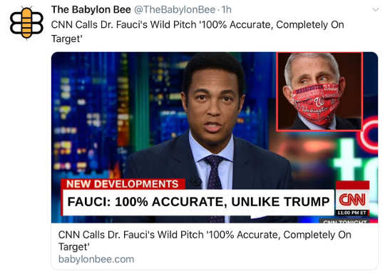 babylon bee dr fauci wild pitch 100 percent accurate cnn