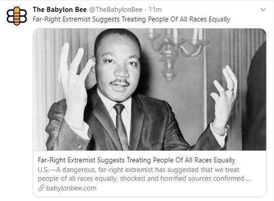 babylon bee far right extremists suggest all races treated equally