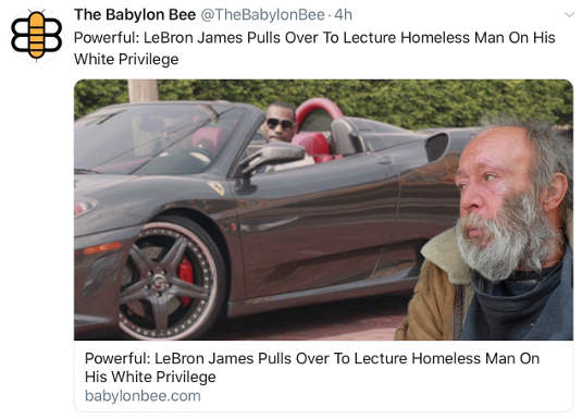 babylon bee lebron james pulls over to lecture homeless man on white privilege