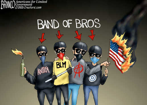 band of brothers antifa blm democrats burning flag protesters