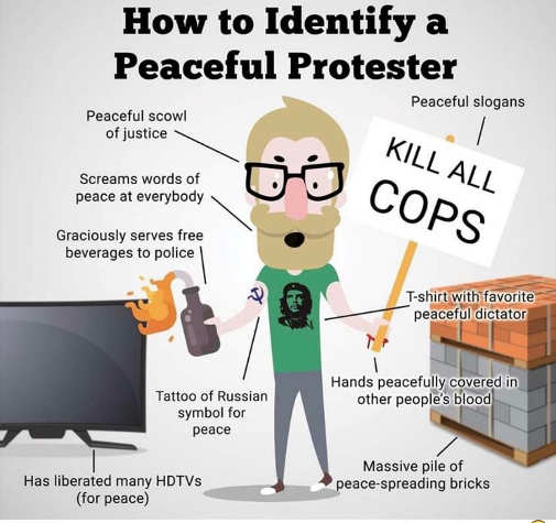 bee how to identify peaceful protester kill all cops drink sign bricks tv che shirt