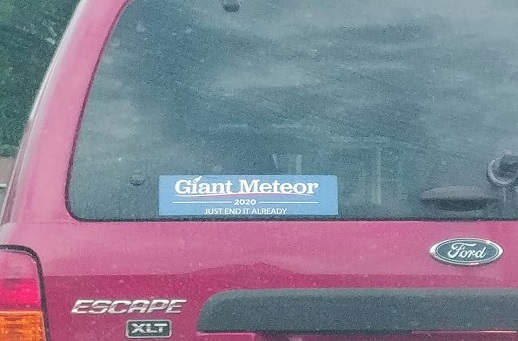 bumper sticker giant meteor 2020 just end it already