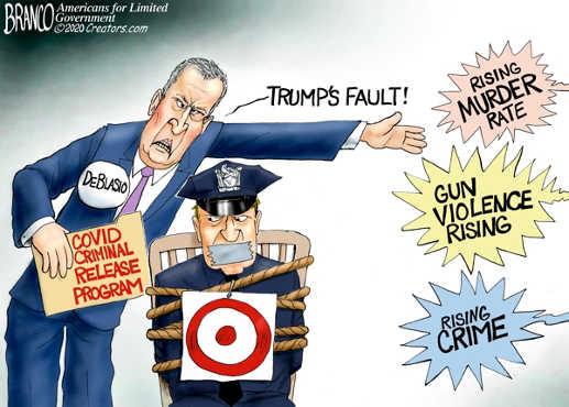 de blasio criminal release program tying cops target trumps fault rising murder rate gun violence