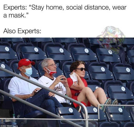dr fauci baseball game stay home social distance wear mask also experts