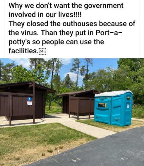 government closed bathrooms brought in port a potties