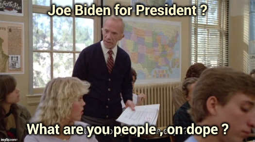 joe biden for president mr hand what are you people on dope