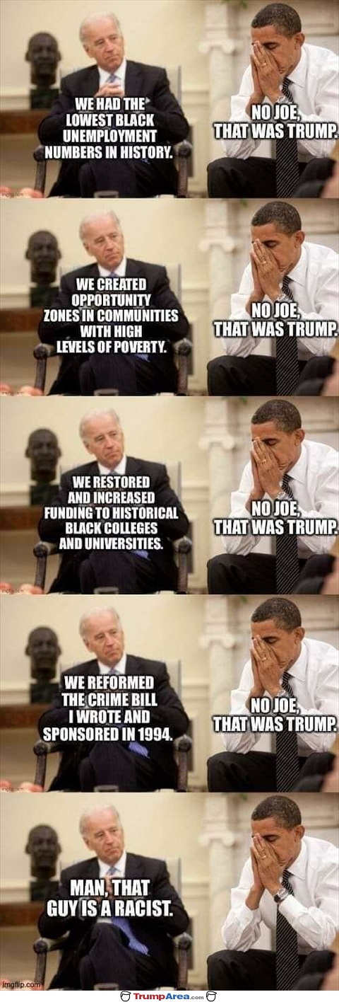 joe biden trump reformed crime bill increased black funding historically low unemployment obama didnt racist