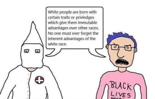 kkk blm whte people born traits privileges white race