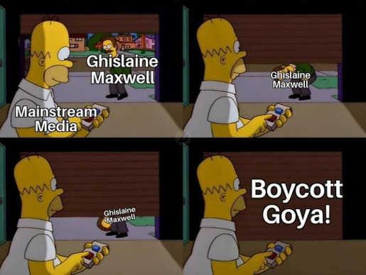 mainstream media ghislaine maxwell homer simpson garage boycott goya