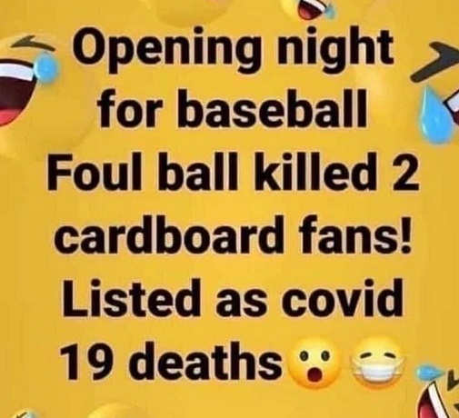 opening night baseball killed cardboard fans listed as 19 covid deaths