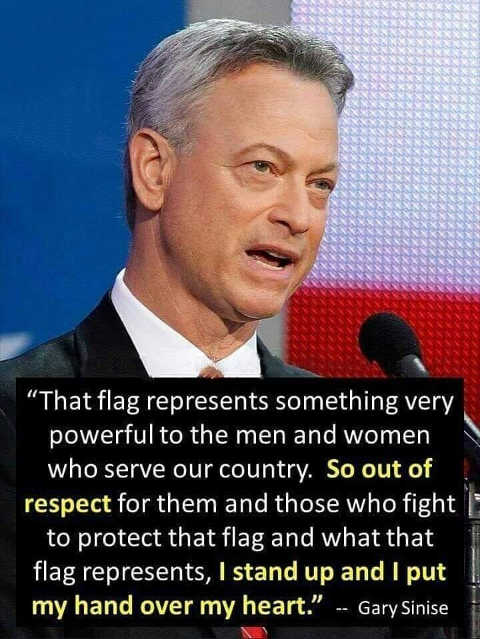 quote gary sinise lieutenant dan flag represents men women serve country stand put hand over heart