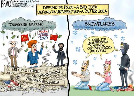 taxpayers billions soviet biden bernie trambling freedom of speech defund universities snowflake generation