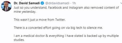 tweet dr david samadi facebook instagram twitter removing posts of medical doctor