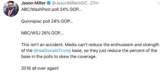 tweet jason miller percentage republicans recent polls