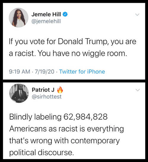 tweet jemele hill vote for trump racist blindly labeling americans racist everything wrong