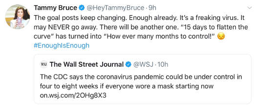 tweets tammy bruck wsj cdc 4-8 weeks stop covid masks