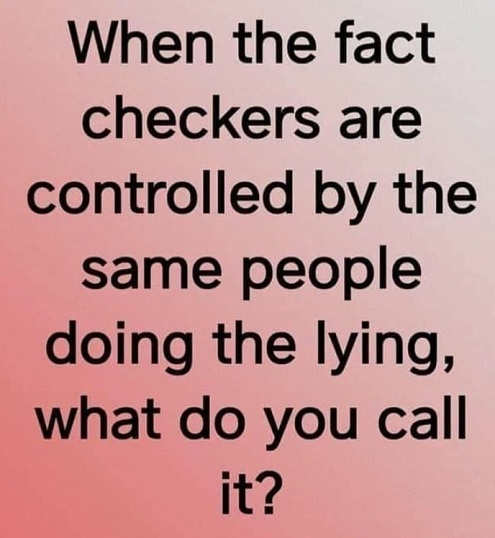 when fact checkers are controlled by same people doing the lying what do you call it deep state