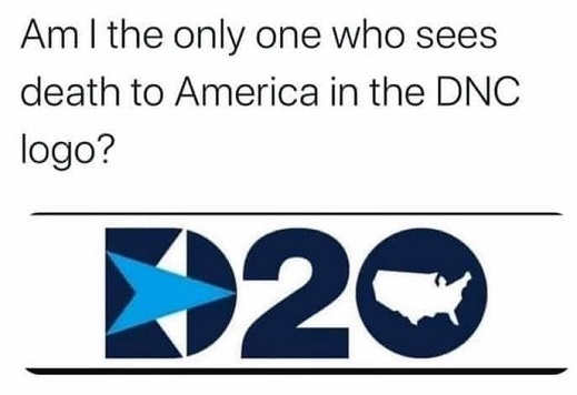 am i only one who sees death to america in dnc logo