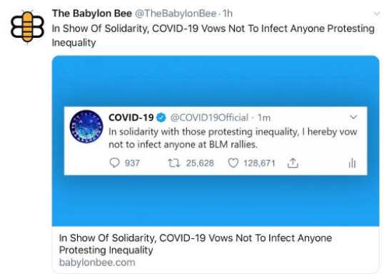babylon bee covid show of solidarity vows not to affect anyone protesting