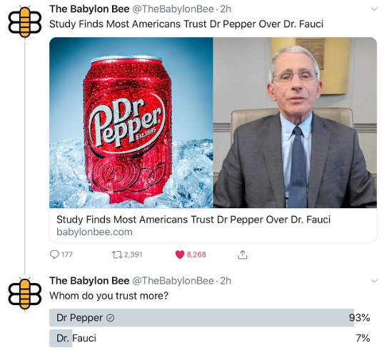 babylon bee dr pepper more trusted than dr fauci poll