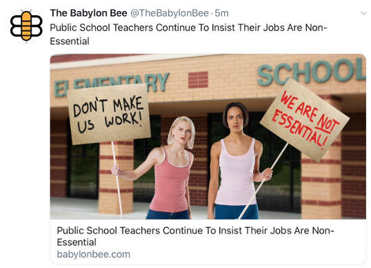 babylon bee public school teachers continue to insist non essential