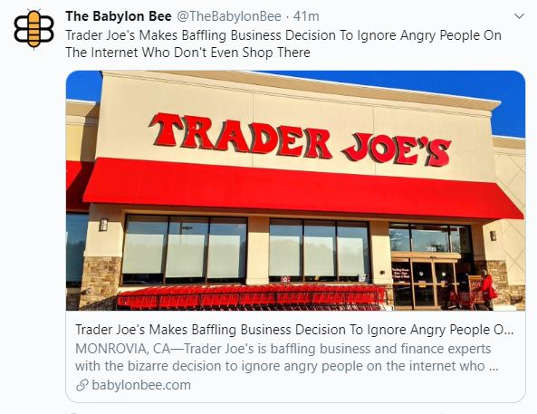 babylon bee trader joes decides against name change from mob doesnt shop there