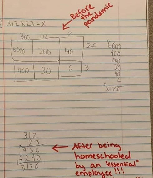 before the pandemic common core math after home school by essential employee