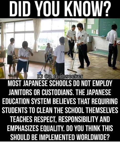 did you know japanese schools dont hire janitors education system respect responsibility
