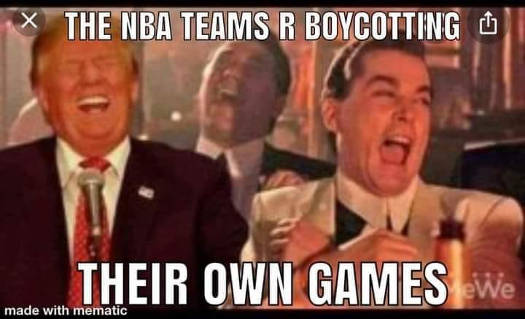 donald trump ray liotta laughing nba boycotting own games