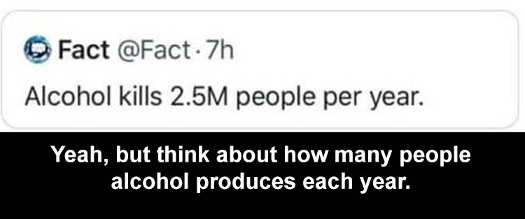 fact alcohol kills 2.5 million people per year but produces many more