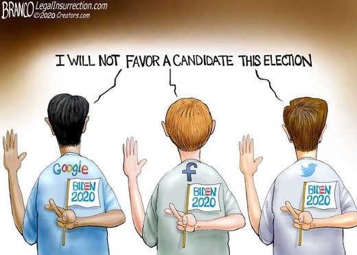 google twitter facebook i will not favor candidate in election cross fingers biden