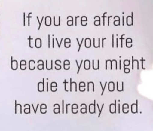 message if youre afraid to live life you have already died